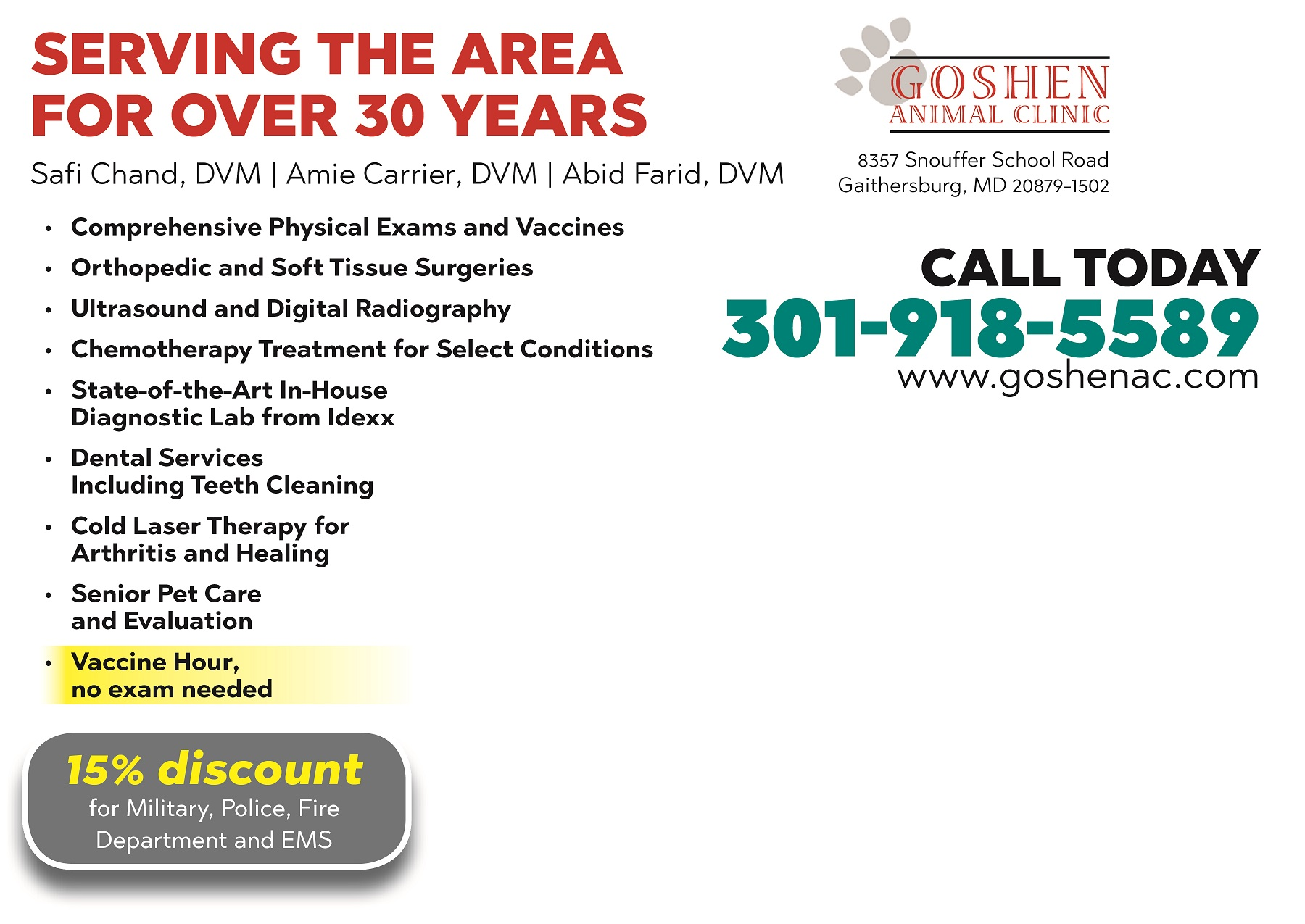Discount, Goshen Animal Hospital